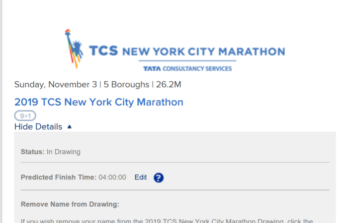 Signed up for the 2019 NYC Marathon.